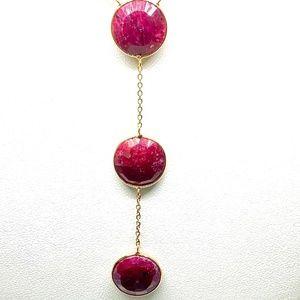 USA Jewelry - Red Ruby Gemstone Y Lariat Necklace 27ctw